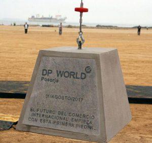 La première pierre du projet DP World Posorja, en Equateur. [©DR]