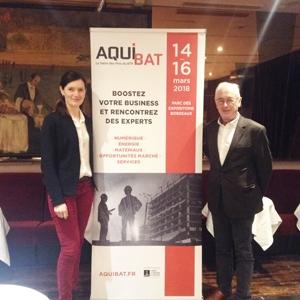 Delphine Demade, directrice d' Aquibat et Bernard Aldebert, qui pilote le comité technique du salon. [©ACPresse]