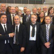 Les acteurs du bâtiment et le ministre de la Cohésion des territoires, Jacques Ménard, ont signé, le 9 novembre dernier, la charte d'engagement volontaire de la filière bâtiment pour la construction numérique. [©W.Pillard EGF.BTP]