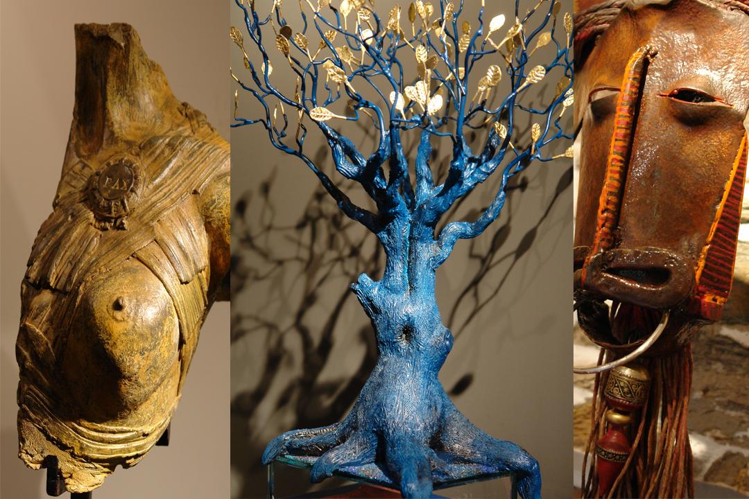 Trois des sculptures de Jean Divry, intemporelles et relevant d'une archéologie personnelle. [©Jean Divry]
