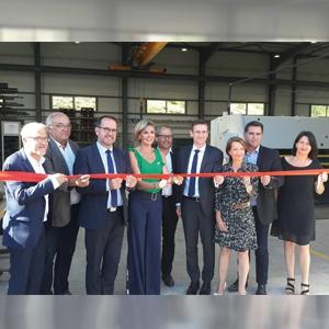 Inauguration de l'extension de l'usine Precia Molen à Veyras, le 22 juin 2018 en présence notamment de Philippe Court, préfet de l'Ardèche et Hervé Saulignac, député de l'Ardèche. [©Precia Molen]