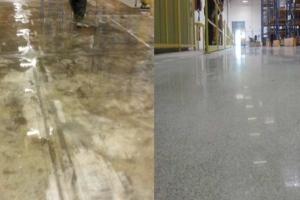 Sol industriel avant et après traitement à l'aide du procédé DRT Shine. [©Becosan]