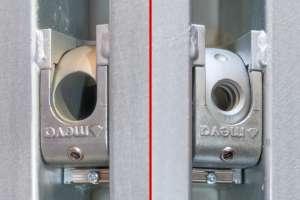 Dispositif pour tiges traversantes Mammut XT de Meva : à gauche, trou lisse pour fixation 2 faces ; à droite, trou avec pas de vis pour fixation 1 face.