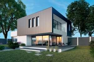 Décliné dans toutes les teintes RAL, le bardage aluminium P9579 permet de personnaliser une façade. [©Deceuninck]