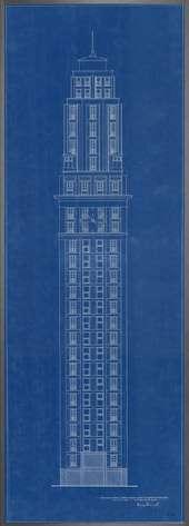 Dessin de la tour Perret, à Amiens, qui date de 1942. 240€ [©Desplans.com]