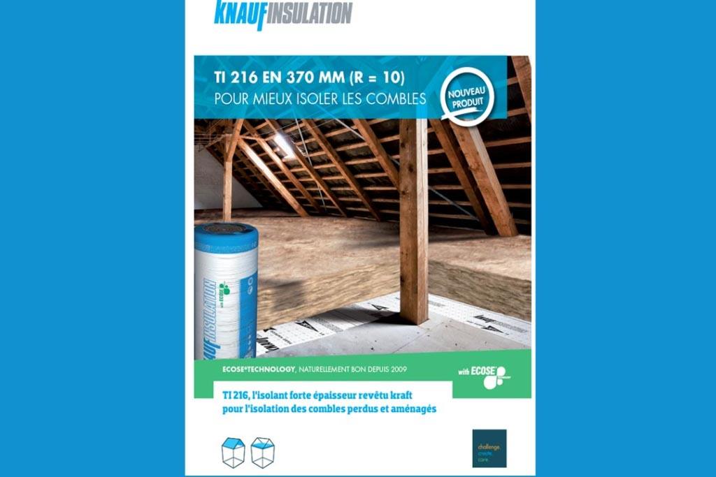 Le Lambda de la laine de verre TI 216 de Knauf Insulation est égal à 0,037 W/(m.K) et sa résistance thermique à 10 m2.K/W. [©Knauf Insulation]