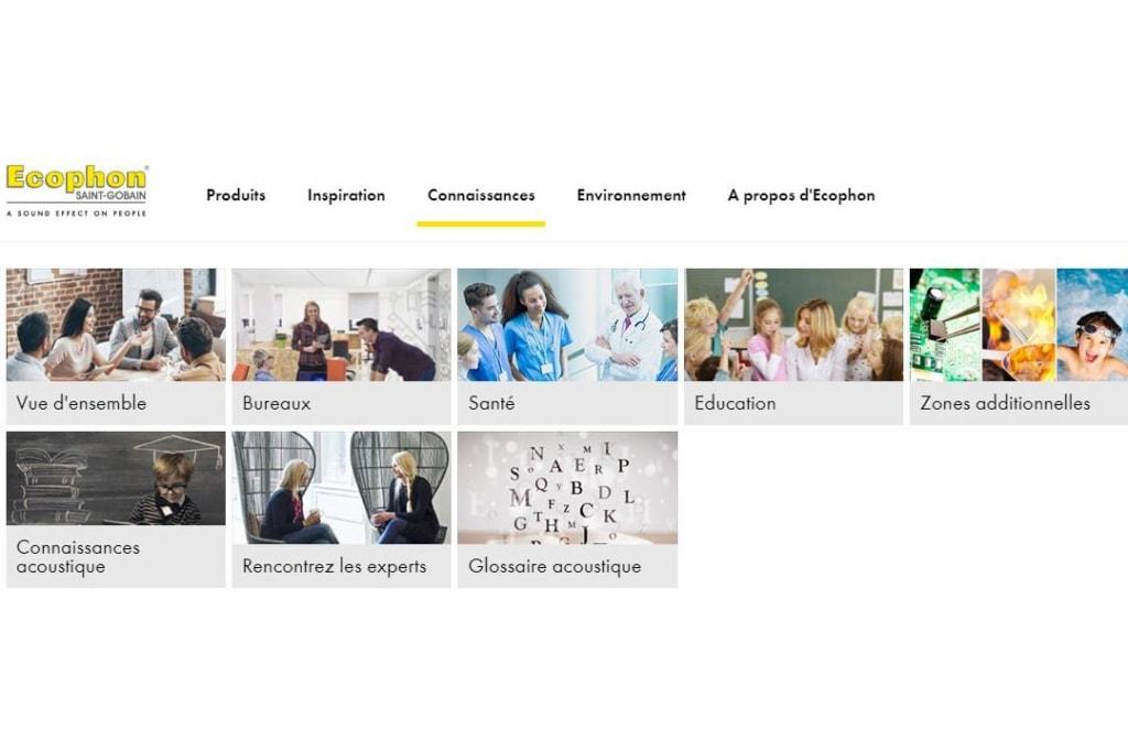 """Ecophon fait évoluer son site Internet, avec deux nouvelles rubriques : """"Connaissances acoustiques"""" et """"Rencontrez nos experts"""". [©Ecophon]"""
