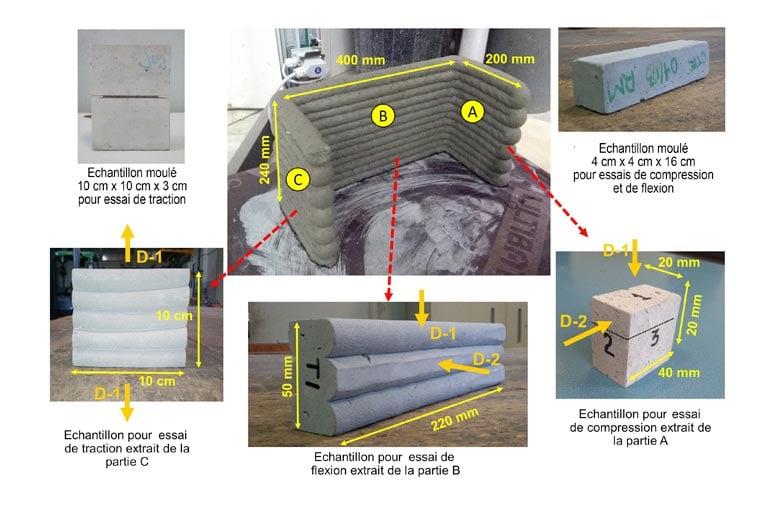 Impression 3D béton : Echantillons de béton imprimé et moulé. [©LMDC][©LMDC]