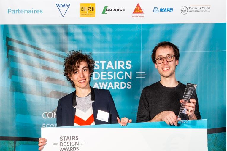 Lors de la cérémonie de remise des prix, en avril dernier, au musée des Confluences à Lyon, Madeleine Devineau et Clément Gosselin étaient les premiers lauréats du concours Stairs Design Awards #1. [©Denis Chaussende]
