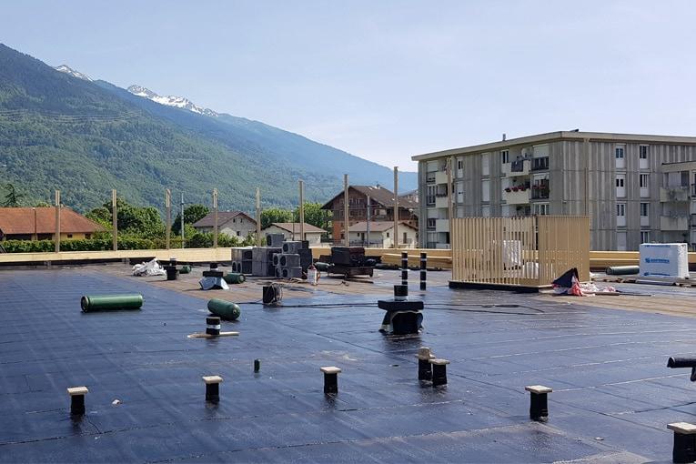 Le système Foamglas Tapered, constitué de panneaux d'isolation en verre cellulaire, a été mis en œuvre pour la toiture-terrasse de plus de 900 m2.  [©Fomaglas]