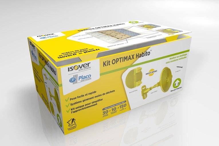 Le Kit Optimax Habito  permet de fixer 20 m2 de doublage. [©Isover-Placo]
