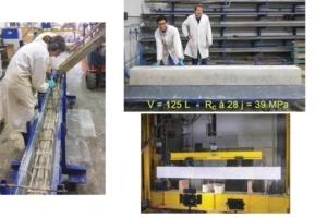 Figures 1 - Réalisation, puis casse avec vidéo-corrélation d'une poutre en béton armé à base d'un liant alcali-activé (laitiers activés aux carbonates). [©LMDC]