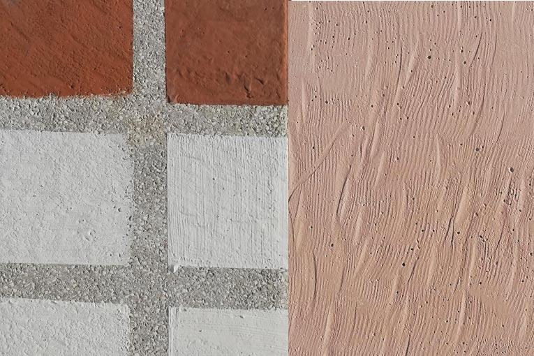 Peintures de liants alcali-activés sur support poreux et rugueux en béton (laitiers activés aux silicates [blanc] et géopolymères [rose/brun]). Le relief apparent est lié au support non plat, et non au revêtement. [©LMDC]