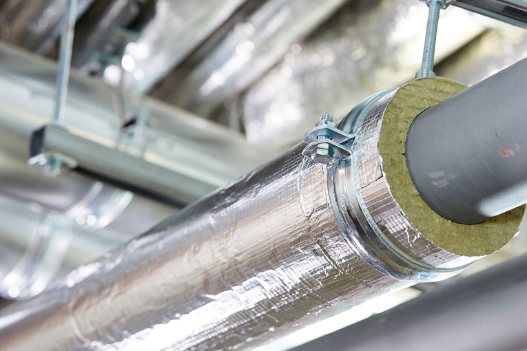 Installation de chauffage isolée par Teclit de Rockwool.