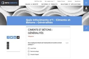Chaque jour, Cimbéton met en ligne sur son site Internet un quizz. Au programme, des questions multiples sur l'univers du ciment et du béton. [©DR]
