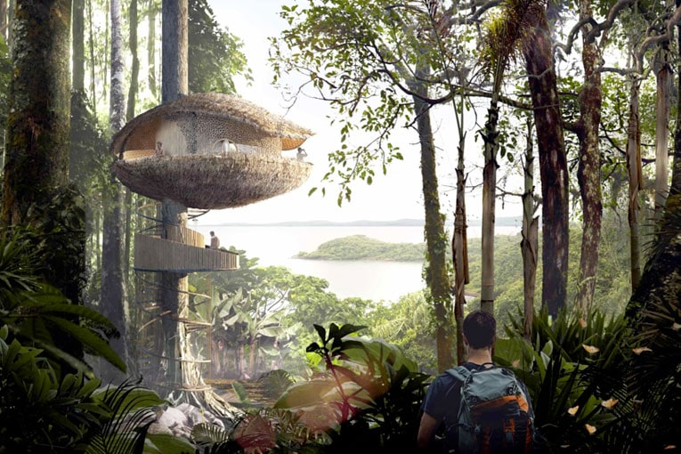 Au Panama, Baca Architects s'est inspiré des cabosses de cacao pour donner vie aux Biku Treehouses. [©Baca Architects]