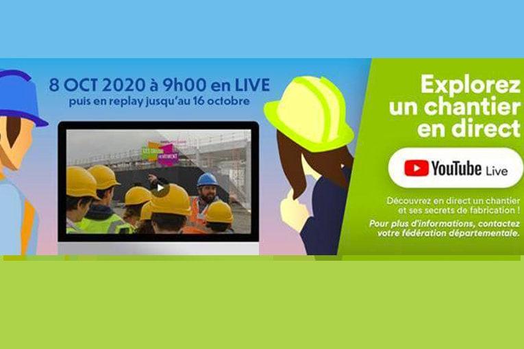 Face aux risques liés à la situation sanitaire, une solution alternative et innovante est proposée aux établissements scolaires : une visite de chantiers en direct sur Youtube. [©Coulisses du Bâtiment]