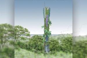 Le pylône peut être végétalisé. Les Jardins de Babylone sont les partenaires aptes à proposer une végétalisation, nécessitant peu d'entretien.