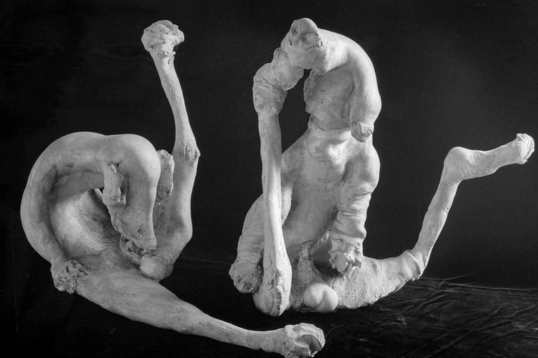 Michel Charpentier considère qu'il doit entrer dans la peau du personnage. Celle de ses sculptures. Peaux plissées, gonflées, tordues, formes déformées, participent à une vision grotesque, voire surréaliste. [©Clovis Prévost/clovis.prevost@wanadoo.fr]