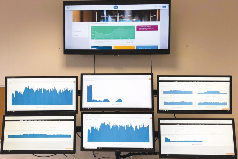 Ecrans de supervision installés chez EnerDigit pour contrôler les effacements des sites.  [©EnerDigit]