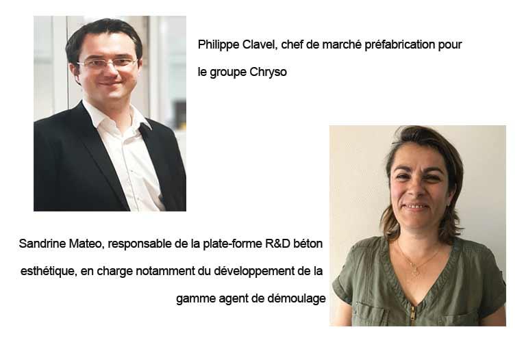 A gauche, Philippe Clavel, chef de marché préfabrication pour Chryso. A droite, Sandrine Mateo, responsable de la plate-forme R&D béton esthétique. [©Chryso]