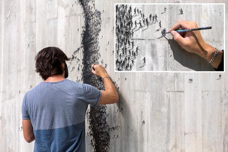 """""""Distance sociale"""" est une intervention en trompe-l'œil, qui crée l'illusion d'une profonde crevasse sur la surface rigide d'un mur en béton. [©Pejac @pejac_art"""