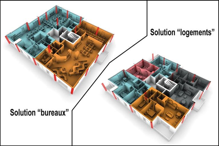 Avec le système Caméléo, il est simple de transformer des bureaux en logements collectifs. [©Rector]