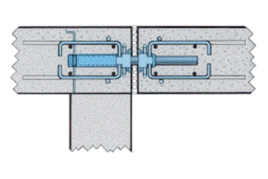 Figure 6 - Un goujon coulissant est employé notamment pour éviter de doubler un poteau au niveau d'un joint de dilatation. Dans ce cas, ce dispositif comporte deux cages d'armatures de renfort, symétriques. [©Paul Acker]