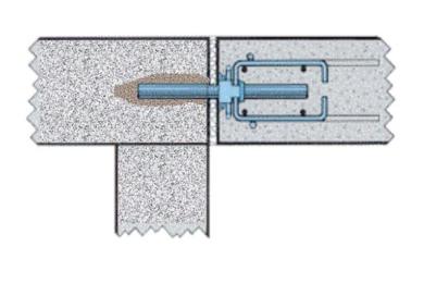 Figure 7 - Dans le cas du parking en exemple, pour assurer l'appui de la dalle de rive du nouveau parking sur le portique de rive du parking existant, une des cages d'armatures de renfort a été supprimée du côté non coulissant, ce qui a permis d'encastrer et de sceller le dispositif dans les têtes de poteau. [©Paul Acker]