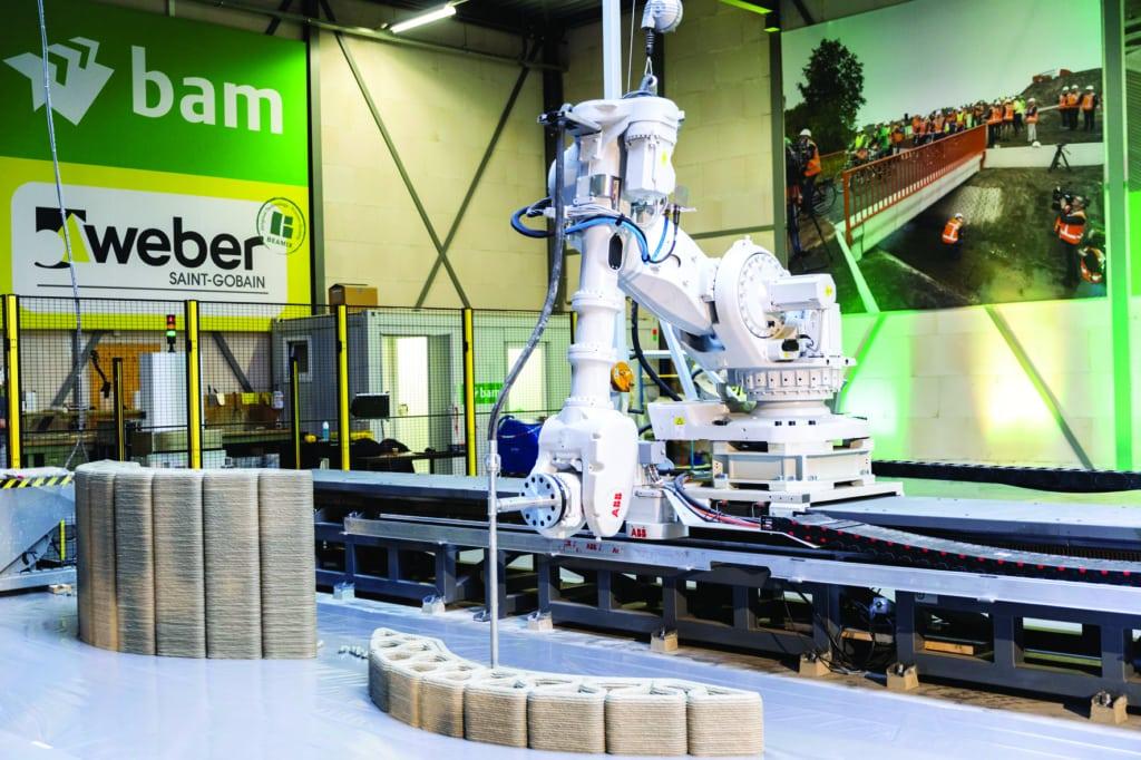 Saint-Gobain Weber Beamix dispose d'une imprimante sur rail, permettant de réaliser des éléments de grande taille. [©Saint-Gobain Weber Beamix]