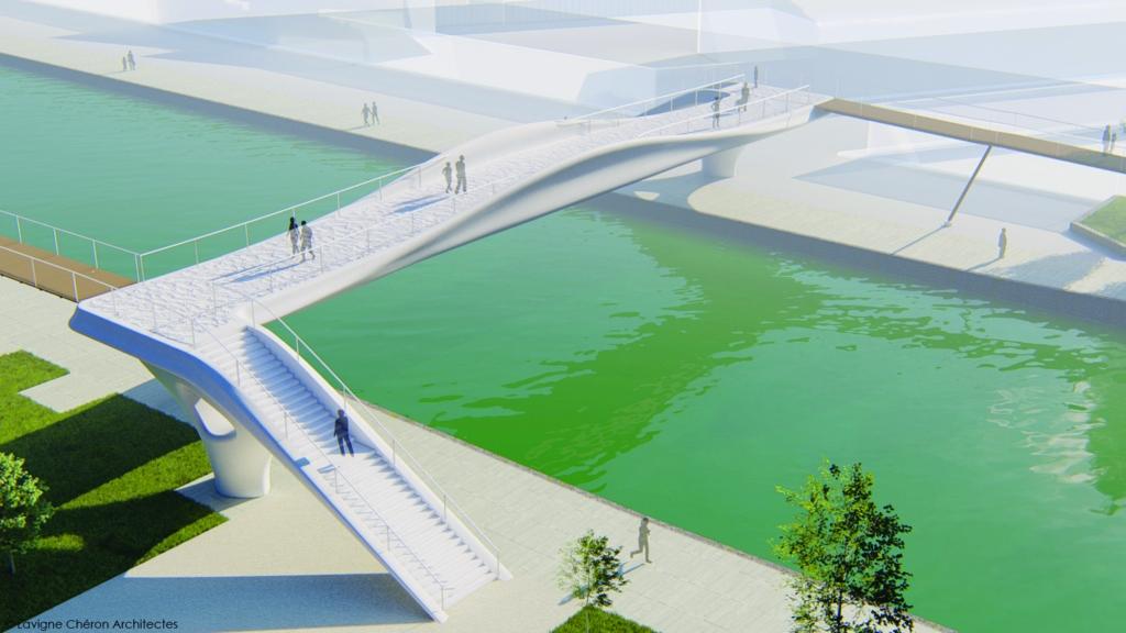 XtreeE va réaliser une passerelle piétonne de 40 m en béton imprimé 3D structurel.  [©Lavigne & Chéron Architectes]