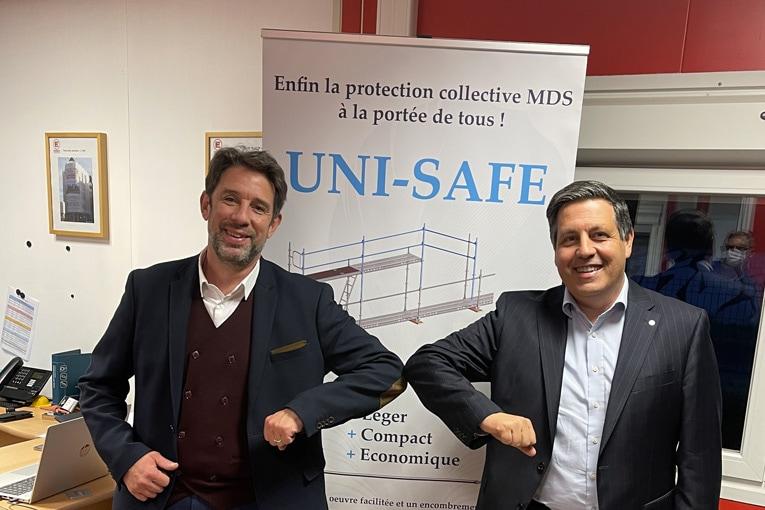 De gauche à droite, Eric Limasset, président de Layher France, et Frédéric de Saint-Jean, président d'Everest Echafaudages. [©Layher]