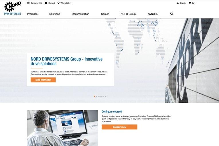 Le nouveau site de Nord Drivesystems, contemporain, intuitif et conviviale. [©Nord Drivesystems]