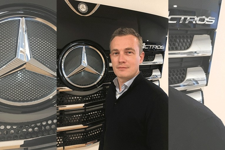 Portrait de Nicolas Lambert, nouveau responsable marketing de Mercedes Benz Trucks France. [©