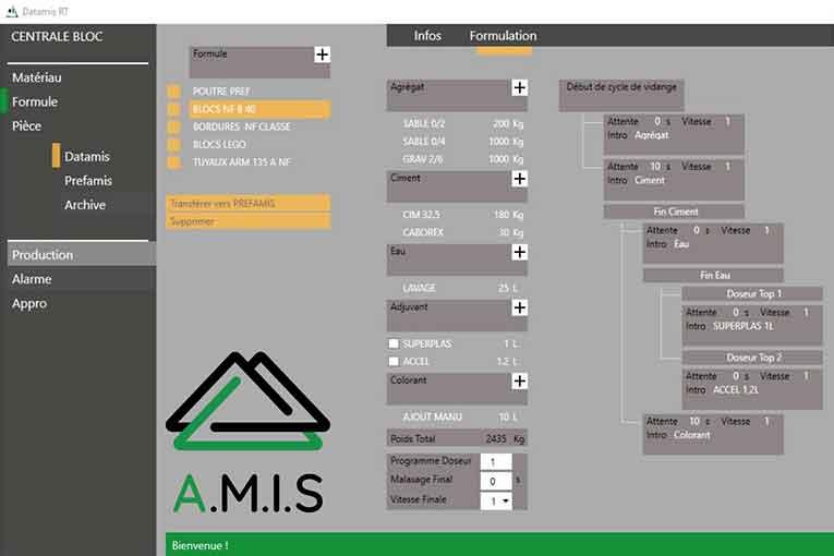 La solution globale Prefamis permet la gestion de la production des sites de préfabrication. [©Amis]