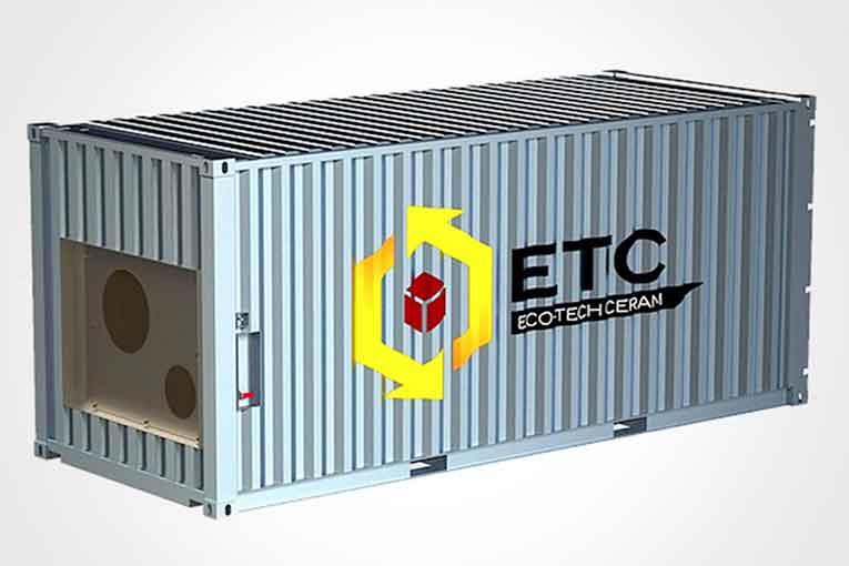 Ecotech Ceram stocke et transforme la chaleur en énergie renouvelable à travers un conteneur.  [©Ecotech Ceram]