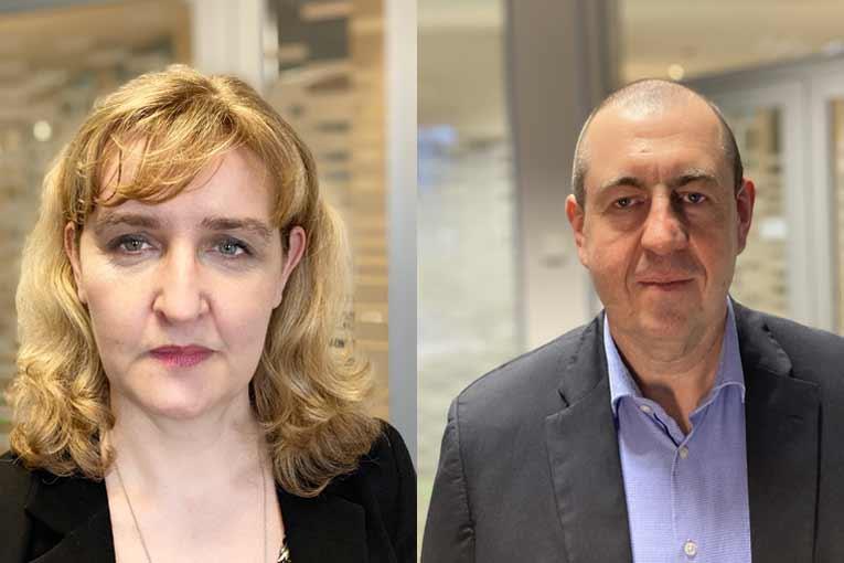 A gauche, Karine Goudy, nouvelle directrice des ressources humaines. A droite, Olivier Butel, nouveau directeur industriel du groupe. [©Terreal]