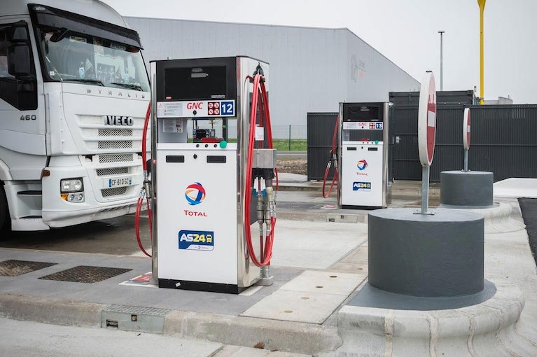 Total a ouvert la plus grande station de GNV de France, à Gennevilliers (92). [©Total]