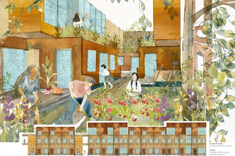 """e 1er prix a été décerné à Assia Ghani et Mélina Ndoumbe avec leur projet """"Maisons ouvrières"""", à Roubaix. [©Archi Jeunes /Valode & Pistre]"""