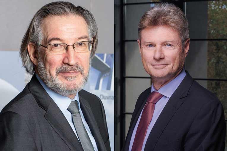 A gauche, Philippe Gruat, président de la Fib et de la Filière Béton. A droite, Jean-Marc Goldberg, président du SNBPE. [©Fib, ACPresse]
