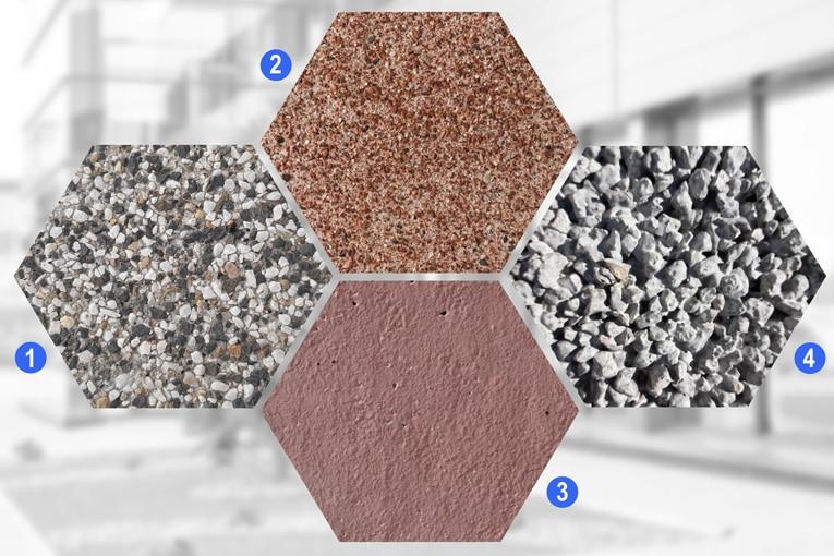 Min&ral se décline en quatre gammes de bétons esthétiques : 1 - Déco (désactivé), 2 - Déco Micro (micro-désativé), 3 - Color (teinté dans la masse) et 4 - Drainant. [©François Industrie]