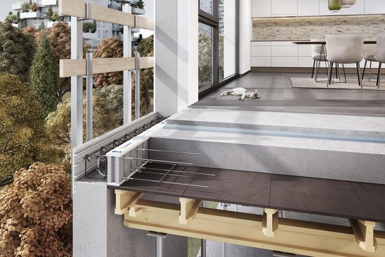 Schöck dévoile le dernier-né de sa gamme de rupteurs de ponts thermiques, le Rutherma type DFi. [©Schöck]