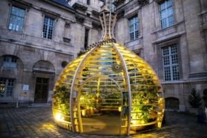 """Jusqu'au 28 septembre prochain, on peut découvrir l'installation """"Brosses & Lianes"""" du designer du végétal, Alexis Tricoire, dans la cour de la Bibliothèque historique de la Ville de Paris (dans le IVe arrondissement)."""