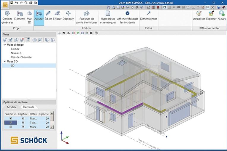Le logiciel BIM de Schöck permet aux bureaux d'études de positionner les rupteurs de ponts thermiques en amont des projets.