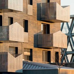 Projet d'extension d'une cité-jardin imaginé par le cabinet Petitdidier Prioux et composé de 92 logements sur le chantier de la ZAC de la Trémelière à Le Rheu. [©Guard Industrie]