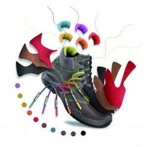 Les chaussures Color Concept se déclinent en 5 coloris de base pour la tige, en coloris d'opposition (doublure de la languette et du col) et dans un large choix de coloris pour les surpiqûres et les lacets.