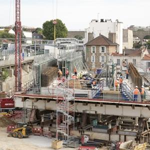Grand Paris Express : Le pont dalle de la constituera le toit de la future gare d'Arcueil – Cachan de la ligne 15 Sud. [©SGP]
