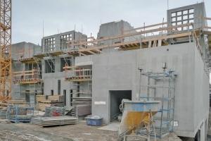 Immeubles d'habitation reposant sur des pieux géothermiques. [©DR]