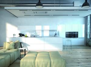 moderne küche in einem loft