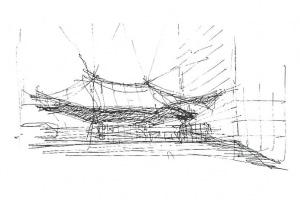"""En mars 1989, sont installés des """"nuages"""", sorte de grand velum en toile monté dans le vide de l'Arche de la Défense. [©Paul Andreu Architecture]"""
